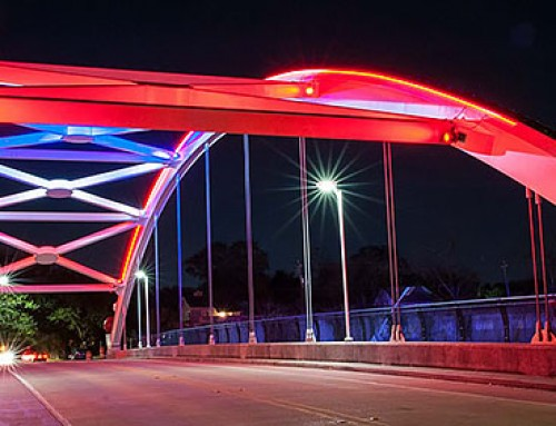 The Montrose Management District Offers Bridge Light Colors to Nonprofits to Support the Community